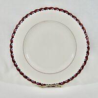 Vernon Kilns Monterey Chop Plate Serve Platter ROUND Maroon Blue Leaf Rim 12-1/4