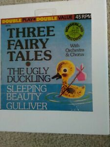 VINTAGETHREE FAIRY TALES Ugly Duckling/Sleeping Beauty Wonderland Record 45 RPM