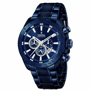 Festina F16887-1 Men's Blue Dial Multifunction Wristwatch