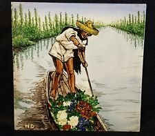 Vintage Hand Painted Tile Rowboat Collectible Decorative Art