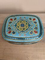 Vintage Blue Metal Tin Embossed with Jewels, Made in Germany