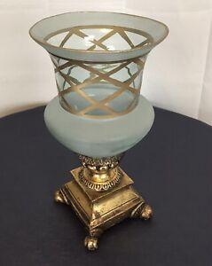 • Glamorous French Art Deco ' Versailles ' Aqua Gold Glass Vase • Wood Base