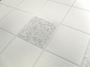 White Silver Tile Wallpaper Glitter Effect Washable Luxury Vinyl Bathroom Wall