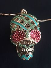 Betsey Johnson Rhinestone Enameled Gold tone Skull Necklace.  24 inch chain.
