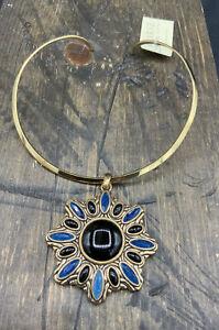 Barse Masquerade Collar Necklace- Onyx & Indigo Quartz- Bronze- New With Tags