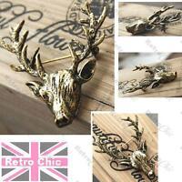 """2""""LARGE antique brass STAG vintage BROOCH pin BIG ANTLERS deer ELK head ANIMAL"""