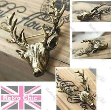 "2""LARGE antique brass STAG vintage BROOCH pin BIG ANTLERS deer ELK head ANIMAL"