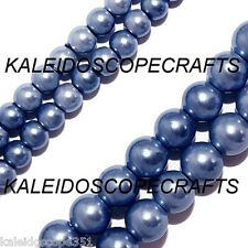 MAGNETIC HEMATITE BEADS  PEARLIZED PERIWINKLE BLUE 4MM ROUND BEAD STRAND P24