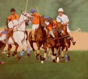Polo Match Horses POSTCARD Steve Greaves Animal Painting Art Sport Print Card
