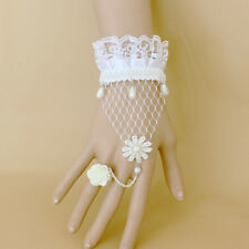 Women Bracelet Ring SET Wedding White Crown Rose Flower Lace Net Pearl Wristband