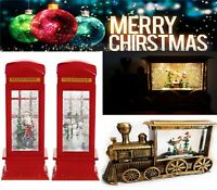 LED Glitter Water Lantern Snow Scene Santa Snowman Red Telephone Box Christmas