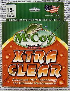 McCoy Fishing Line Copolymer Mono Mean Green Blue Clear 250 YD Spool Any LB Test