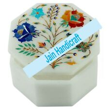"6"" Marble box Jewelry trinket taj mahal Inlay onyx mosaic malachite s60"