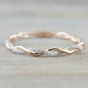 Tiny Rose Gold Charm Twist&Wave White Zircon Ladies Engagement Rings Jewelry