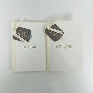 Hallmark His and Hers Vow Vows Books  Wedding White and Gold
