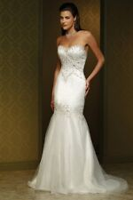 Mia Solano Beaded Mermaid Strapless Corset Bridal Gown Size 10US / 14AU ~ M1075L