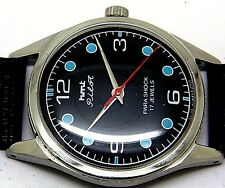 hmt pilot hand winding gents steel black dial vintage india watch run order