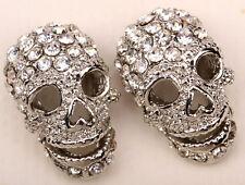Skull stud earrings women biker bling jewelry gift EM33 dropshipping silver