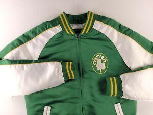 Vintage STARTER NBA Boston Celtics Big Logo Satin Jacket Size Small Green White
