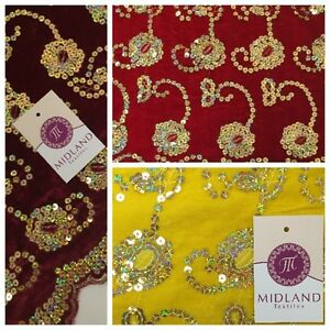 "Gold Sequin Embellished Scalloped edge Micro Velvet 40"" Wide  M47 Mtex"
