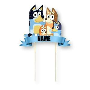 Bluey Personalised Card Cake Topper Kids Birthday Party Decoration Image