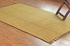 Taluche Handmade 180 x 100 cm Solid Olive Green Color Reversible Area Rug/Tapis