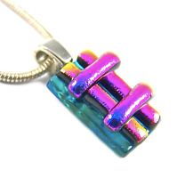 DICHROIC Fused Glass Silver PENDANT Magenta Pink Verdigris Green Striped Layers
