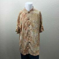 Mens Tommy Bahama 100% Silk XL Orange Leaf Pattern Short Sleeve Hawaiian Shirt