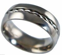 8mm mens wire Inlay comfort fit wedding band 316L stainless steel size 11