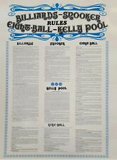 BILLIARDS-SNOOKER-EIGHT BALL-KELLY POOL-NINE BALL rules poster for all games...