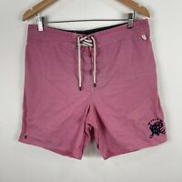 Ralph Lauren Mens Board Shorts Large Pink Elastic Waist Tie Closure