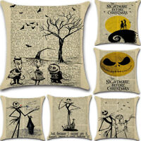Linen Square Halloween Pillow Case Sofa Cushion Cover Newspaper Cartoon Bed Car