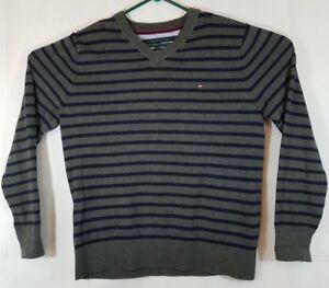TOMMY HILFIGER Men's Long Sleeve DARK Gray & Blue Striped V-Neck Sweater Large