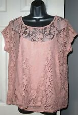 Womens🦋DOROTHY PERKINS🦋pink stretch 2 part set lace top blouse size 18