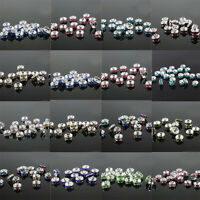 100 Crystal Rhinestone Silver Rondelle Loose Spacer Bead Charm Finding Craft 6mm
