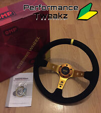 NEW UNIVERSAL GOLD OMP 350MM SUEDE DEEP DISH RACING SPORT STEERING WHEEL SPARCO