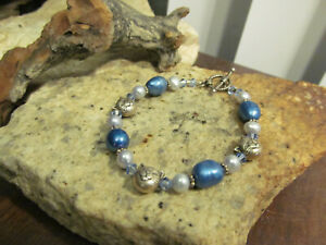Vintage 925 Sterling Silver clasp KITTY CAT Freshwater Pearl Beaded Bracelet