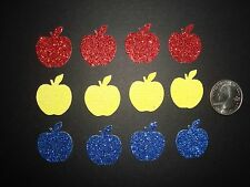 30 SNOW WHITE GLITTER APPLES DIE CUTS PUNCHES CONFETTI RED BLUE YELLOW