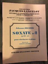 Johannes Brahms Sonate pour clarinette opus 120 n°2 partition éditions Billaudot