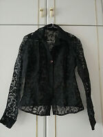 WOMENS BLACK SHEER FLORAL SHIRT BLOUSE TOP SIZE 10 PIT TO PIT 17 LENGTH 24 INCH