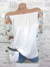 Verano blusa túnica camisa Carmen bordado off shoulder 38 40 42 blanco ef25
