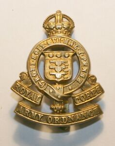 World War II Brass Cap Badge, Royal Army Ordnance Corp, Excellent Condition