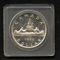 """1960 Canada Silver Dollar Coin """"PROOF LIKE"""" In Case ( 23.33 Grams, .800 Silver)"""