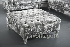 Bespoke Button Chesterfield Silver Grey Crushed Velvet Fabric Ottoman Footstool