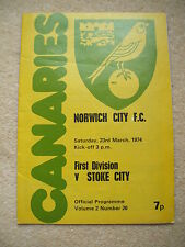 Norwich City v Stoke City Football Programme 1973/1974