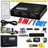 Hot 1080P 5 Port Auto Switch 3D HDMI Switcher Selector Splitter Hub & iR Remote