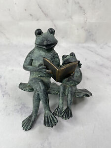 SPI Reading Frog Shelf Sitter Parent And Kid Baby Frogs Figurine Books