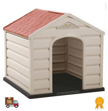 Waterproof Plastic Pet House Dog Cat Kennel Puppy Indoor Outdoor Taupe Small