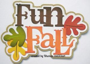 Fun Fall girl boy paper piecing title premade scrapbook page Rhonda rm613art