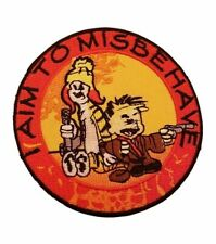 """Firefly Serenity I Aim To Misbehave Saying 3"""" Diameter Embroidered Iron on Patch"""
